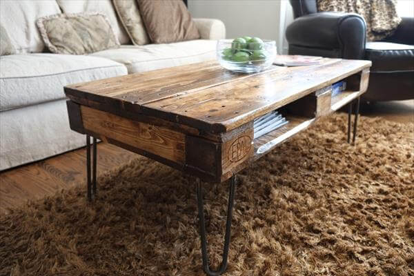 DIY Pallet Skid Coffee Table with Metal Legs | Pallet Furniture DIY