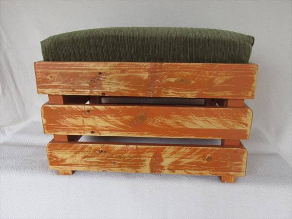 DIY Upholstered Pallet Ottoman Step Stool