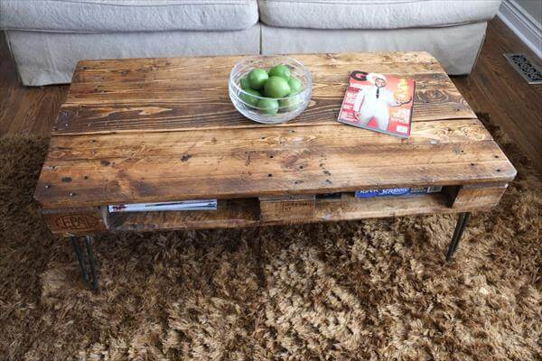vintage pallet coffee table with hairpin legs