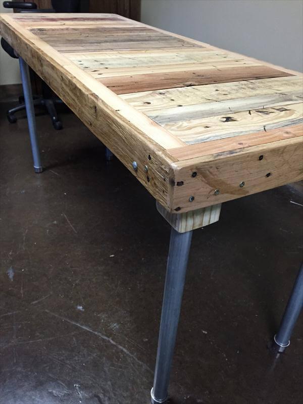 rustic yet modern pallet desk with metal legs