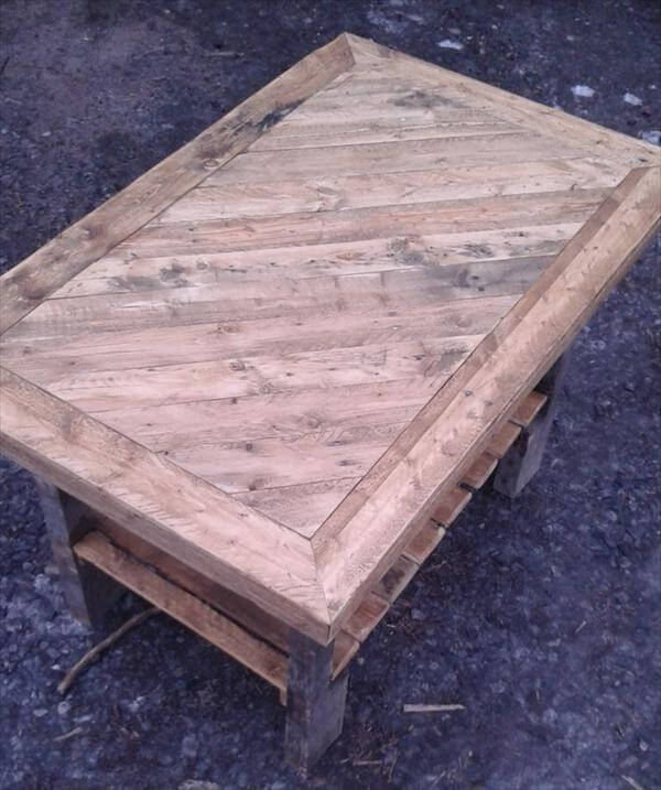 Rustic Wood Pallet Coffee Table: DIY Pallet Coffee Table With Patterned Top