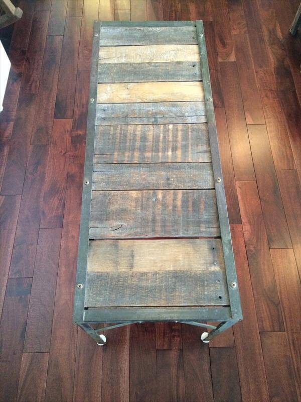reclaimed pallet coffee table with metal base
