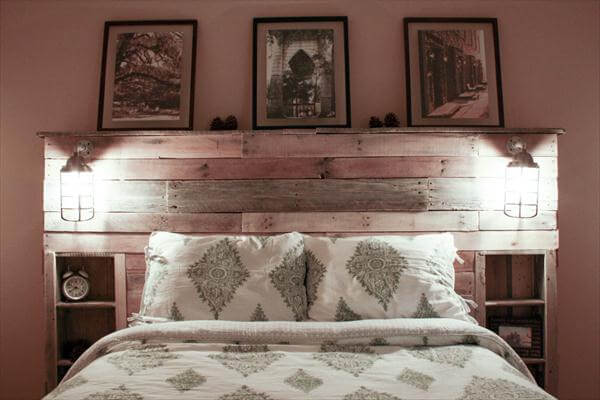 Diy pallet headboard with lights pallet furniture diy - Tete de lit bois rustique ...