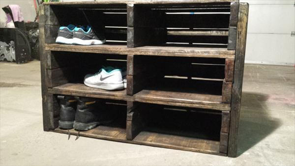 DIY Pallet Shoe Rack u2013 Storage Unit and TV Stand : Pallet Furniture DIY
