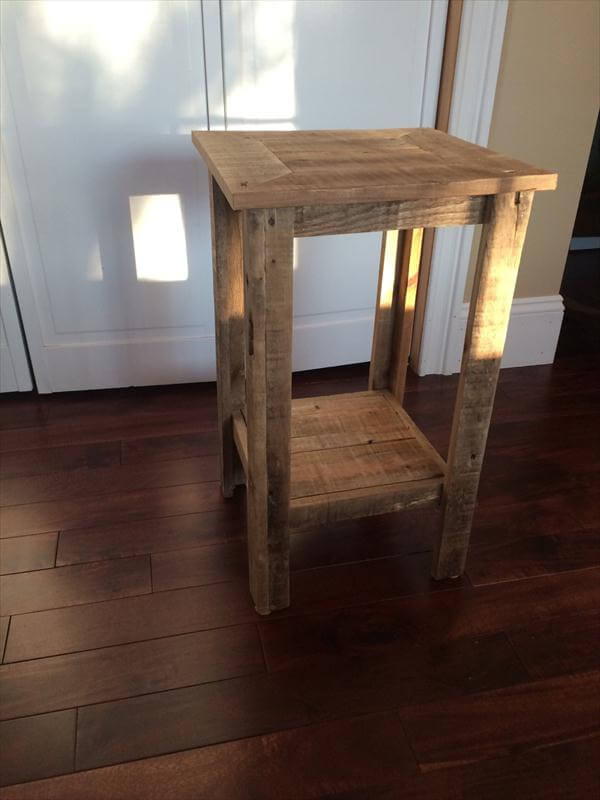 Diy Pallet Wood End Table And Nightstand Pallet