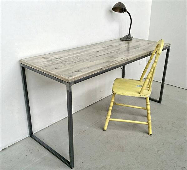 reclaimed pallet study desk with steel base