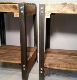 handmade industrial pallet end table and nightstands