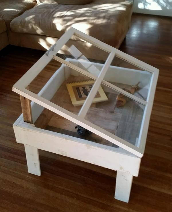 Reclaimed Old Window And Pallet Coffee Table