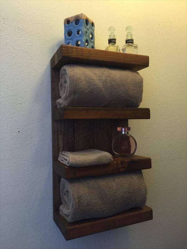handmade pallet bathroom organizer