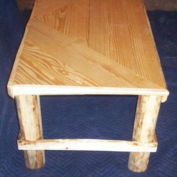 recycled pallet coffee table with rustic tree legs