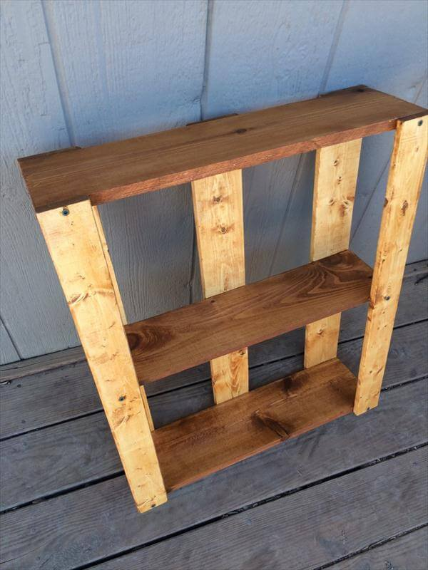 reclaimed pallet compact size shelving unit