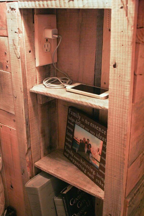 diy pallet headboard with lights pallet furniture diy. Black Bedroom Furniture Sets. Home Design Ideas