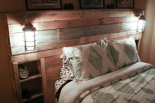 diy pallet headboard with lights pallet furniture diy