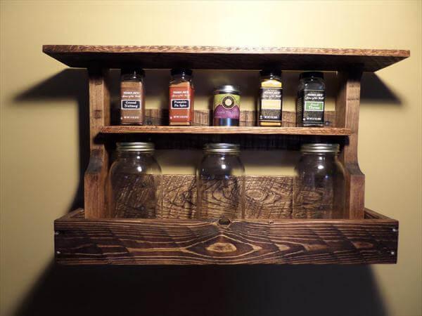 upcycled pallet kitchen spice rack