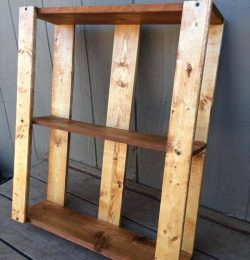 rustic hanging shelving unit