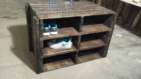 ultra rustic pallet shoes rack and storage unit