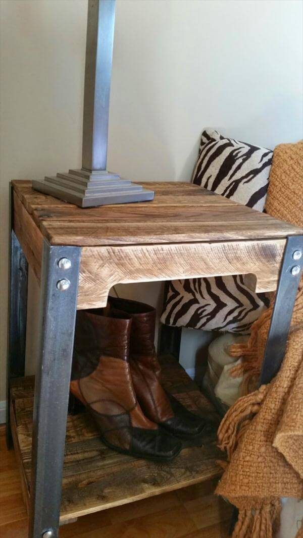 Pallet And Steel End Tables Nightstands