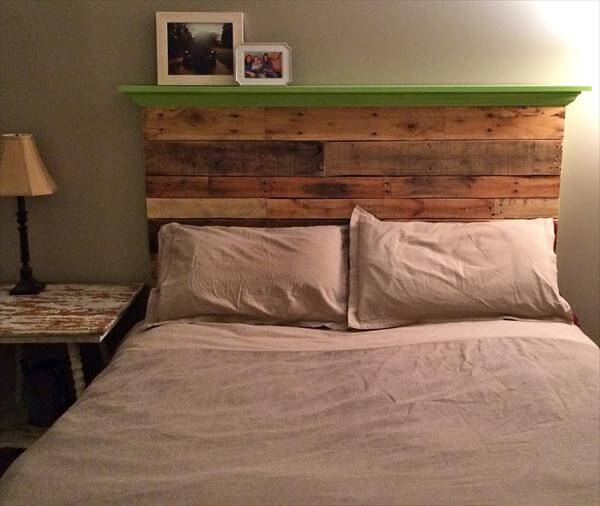 DIY Pallet Floating Headboard With Decorative Mantle Pallet