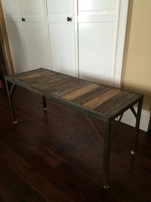 rustic yet sturdy pallet coffee table with metal base
