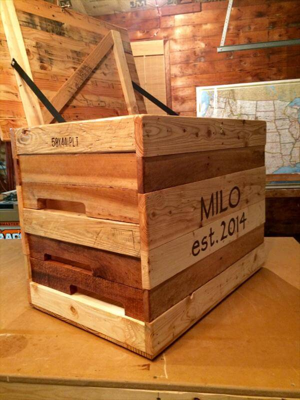 upcycled pallet rustic storage chest