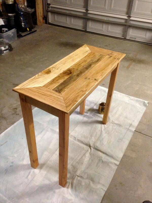 reclaimed pallet console table