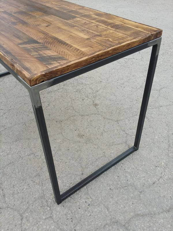 related posts wood pallet and metal pipe desk reclaimed pallet desk ...