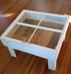 salvaged pallet and old window coffee table