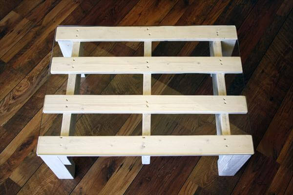 repurposed pallet white coffee table with glass top