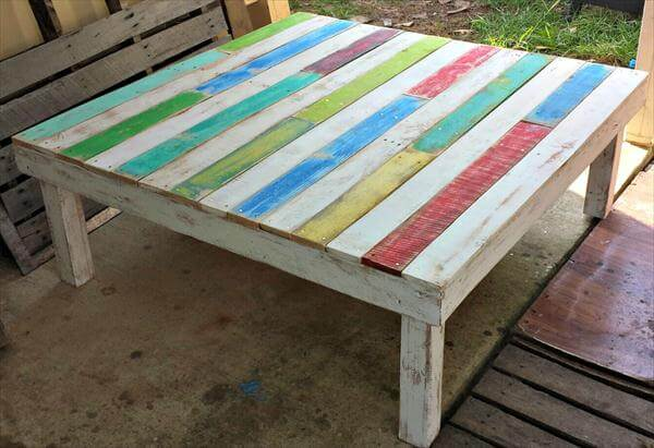 diy pallet colorful coffee table