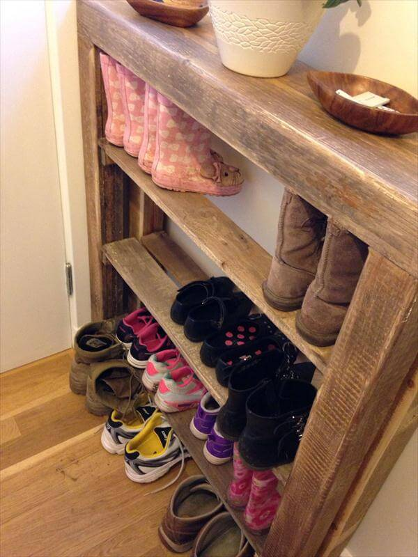 vintage inspired wooden pallet shoes rack