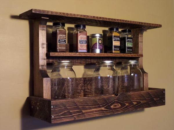 handmade pallet antique kitchen spice rack