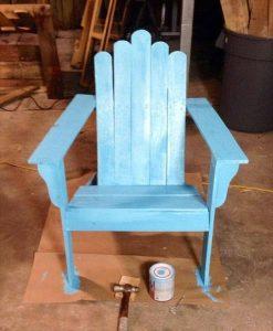 recycled pallet aqua blue Adirondack chair