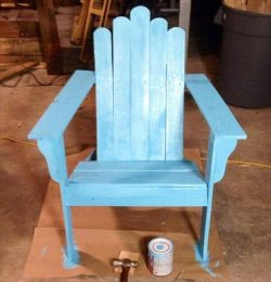 recycled pallet aqua blue Adirondack chair