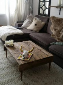 repurposed pallet coffee table with tapered legs