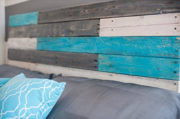recycled pallet colorful headboard
