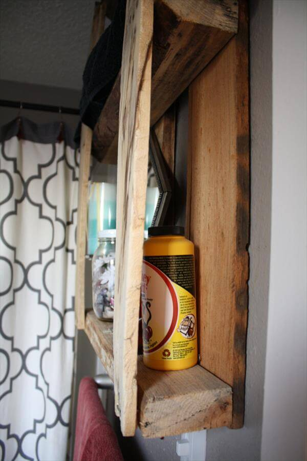 upcycled pallet wall mounted shelves