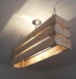 repurposed pallet ceiling light