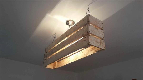 repurposed pallet ceiling light