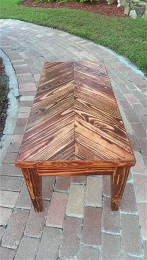 reclaimed pallet herringbone coffee table