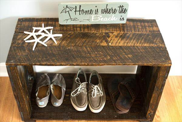recycled pallet mudroom bench and shoes rack