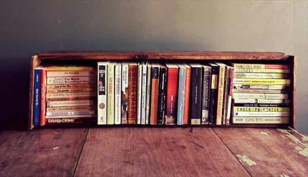 reclaimed pallet box styled hanging bookshelf
