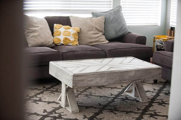 reclaimed pallet chevron grey coffee table