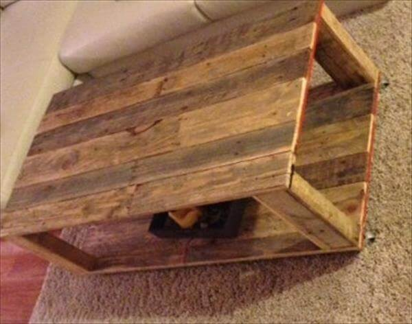reclaimed pallet coffee table with 2 levels