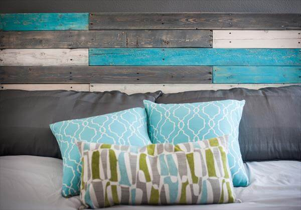 reclaimed pallet colorful headboard