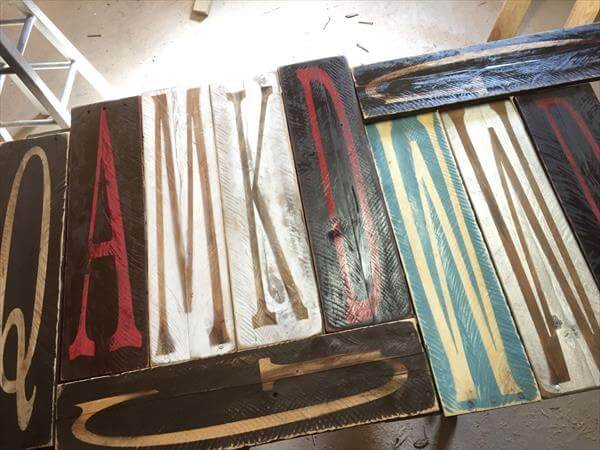 upcycled pallet painted letters
