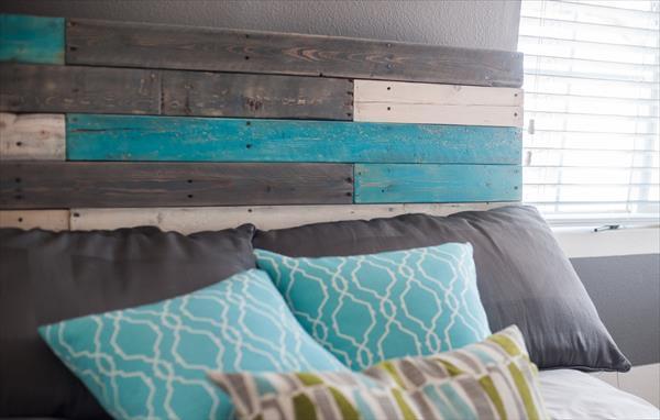repurposed pallet colorful headboard