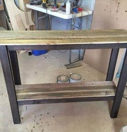 reclaimed pallet sofa table and entryway table