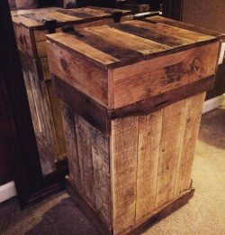 handcrafted pallet trash bin with hinged top