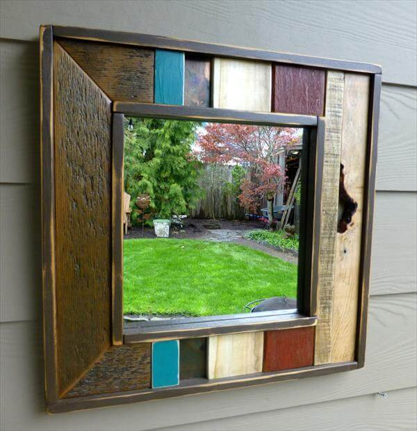 handcrafted pallet accent mirror