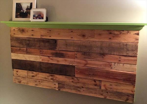pallet wall headboard with shelf